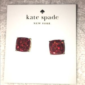 Kate Spade Red sparkly square earrings!